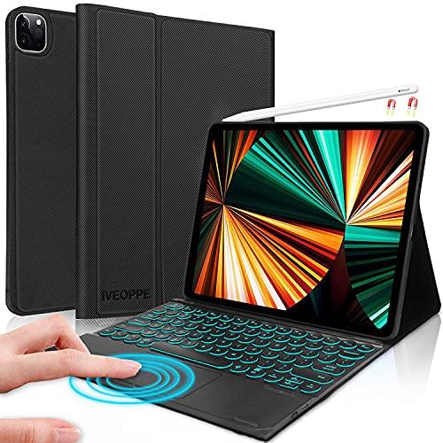 IVEOPPE Funda de teclado con Touchpad para Pro 12.9 pulgadas 2020 4ª generación 2018 3ª generación, funda protectora con Bluetooth iluminado, teclado alemán QWERTZ con trackpad (negro)
