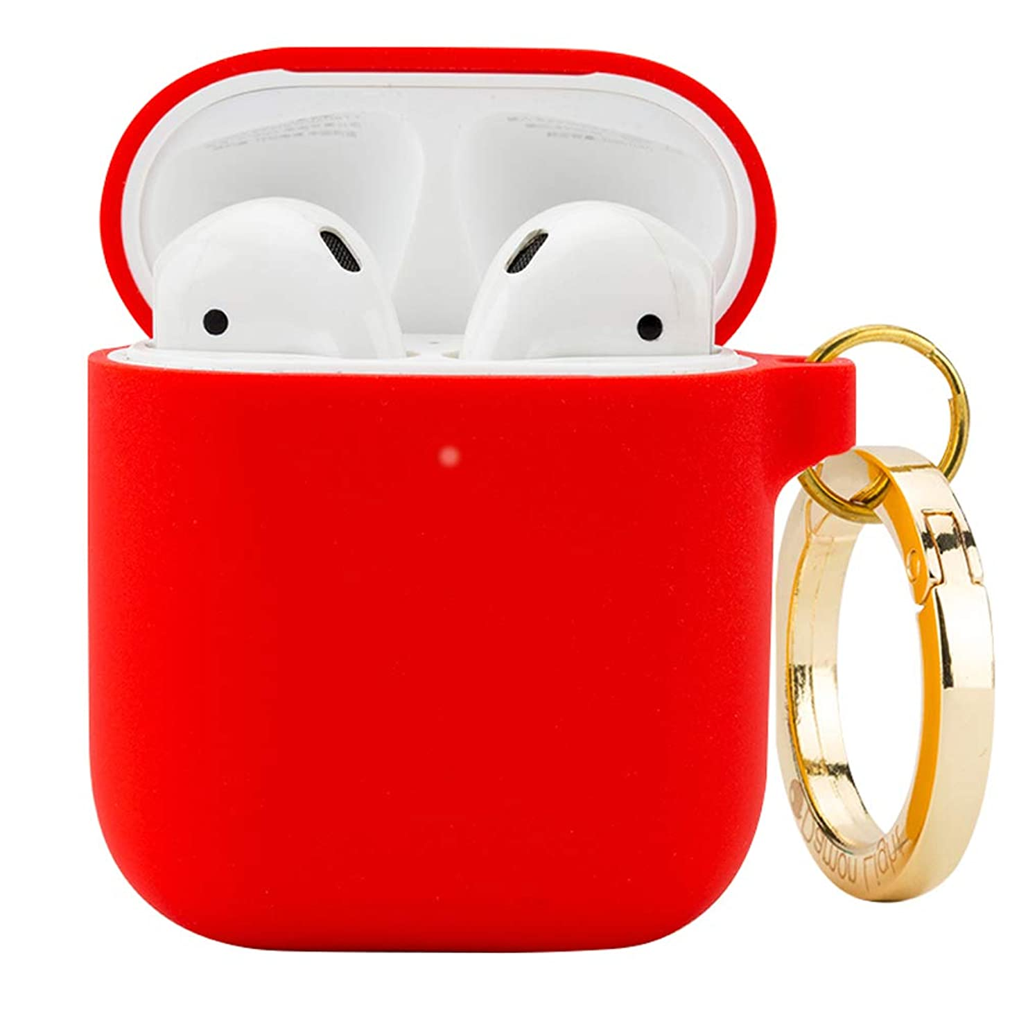 DamonLight Premium Silicone Airpods Case with Carabiner[Front LED Visible][with no Hinge] Full Protective Cover Skin Compatible with Apple Airpods 1&2(Red)