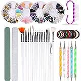 Nail Art Kit Set de cepillos de uñas Herramientas de puntos, 37 Piezas Nail Art Kit Herramientas - Pinceles para Pintar Uñas, Uñas de Estrás, Pinceles de Punto Accesorios de Decoración de Uñas