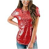 Blusa para Mujer Camisetas Casuales de Manga Corta con Cuello Redondo Túnica de Lentejuelas para Fiesta Tops Elegantes Rojo L