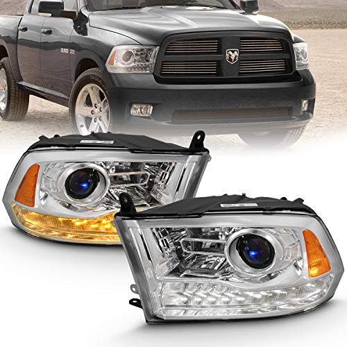 AmeriLite Projector Headlights for 2009-2018 Dodge Ram 1500 2500 3500 w/LED Tube Switchback White and Amber Parking Turn Signal - Passenger and Driver Side