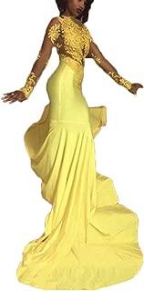 mermaid prom dress yellow