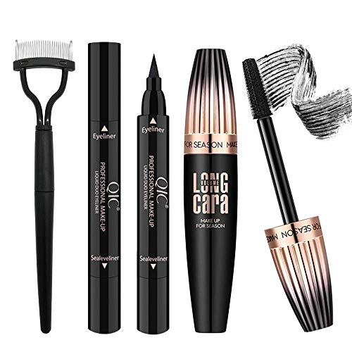 4D Silk Fiber Lash Mascara with Eyeliner Stamp & Folding Eyelash Comb, Long Lasting Waterproof Smudge-Proof, Make Voluminous Eyelashes, Perfect Charming Eye Makeup Kit Black