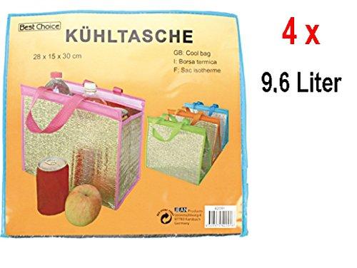 4 x Best Choice koeltas met klittenbandsluiting 30 x 28 x 15 cm (9,6 liter) gekleurd