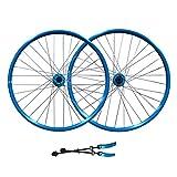 LSRRYD Bicicleta Montaña Ruedas Juego 26 Pulgadas Llanta Disco Freno MTB Rueda Liberación Rápida 32H Buje para 7/8/9Velocidad 2359g (Color : Blue, Size : 26 Inch)