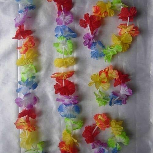 Ruw 4 Pc Garlands Hawaiian Flower Lei, Headband, Anklet Tropical Party Fancy Dress