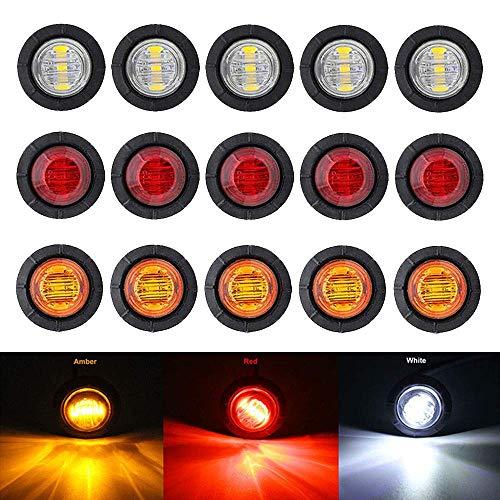 """Bkinsety 15Pcs 3/4 \"""" Runde LED Vorne Hinten Seitenmarkierungsanzeigen Licht Universal für LKW Anhänger Van Caravan Auto (Rot + Weiß + Gelb)"""