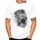 Yvelands White T-Shirt Hombres Moda O-Cuello Ocasional Impreso Camisetas Slim Blusa Top Party Beach Verano, Liquidación (Blanco, XL)
