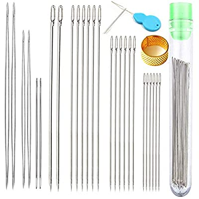 Y-Axis 26 Pcs Assorted Beading Needles Including 6 Pcs Big Eye Beading Needles + 20 Pcs Long Straight Beading Thread Needles with Needle Bottle