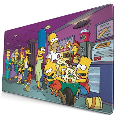 Simpsons Mouse Pad with Stitched Edge Premium-Textured Oversized Non-Slip Rubber Gaming Mouse Pad/Computer Desk Pad/Keyboard pad (15.8x29.5 Inches)