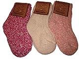 Wowerat Calcetines de lana para bebés y niños (3 unidades) Tonos rojos. 19