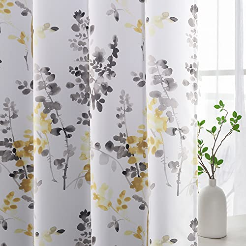 H.VERSAILTEX Blackout Curtains for Living Room Darkening Thermal Insulated Panels 84 Inch Long Light Blocking Gromment Curtains/Drapes, Grey and Yellow Vintage Classical Floral Printing, 2 Panels