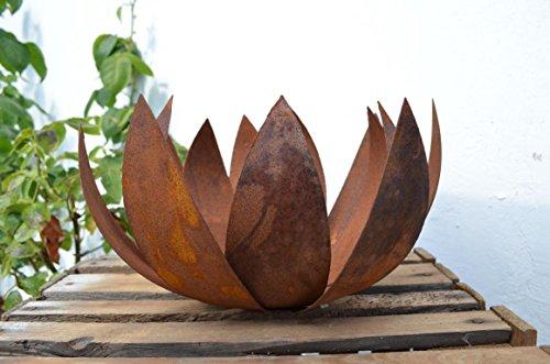 HKT Home Deco Blume Blüte Metall Rost Edelrost Windlicht Übertopf Pflanzschale Gartendeko Tischdeko Deko ca. 28cm Durchmesser Garten Balkon Terrasse Geschenk