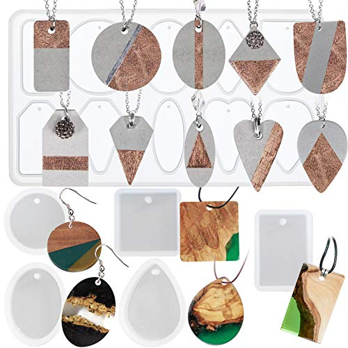 FUNSHOWCASE Geometry Pendant Jewelry Casting Epoxy Silicone Molds with Holes for Concrete Plaster Polymer Clay, 6-Bundle 15-Cavity