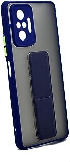 غطاء حماية فاخر مع رباط للمعصم ومسند وحامل لهاتف شاومي ريدمي نوت 10 برو (ازرق)