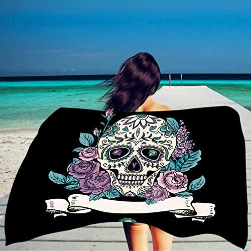 MKHB Cráneo Rectangular Toalla de Playa para Adultos Toalla de baño de Microfibra Estera de Yoga Caliente Estera de Playa 150X75CM 03