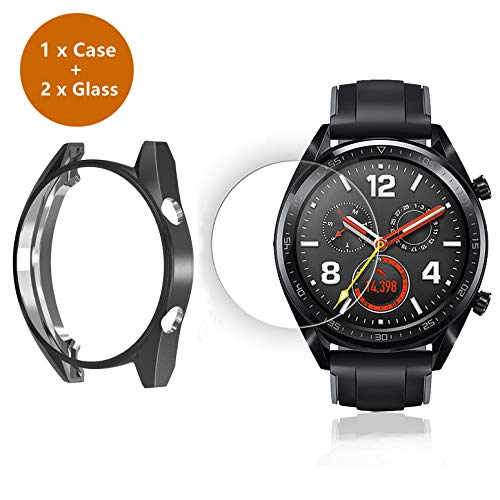 sciuU Set von Hülle und Display Schutzglas für Huawei GT Active 46mm, Soft Flexible TPU-Gehäuse Schutzhülle Case + Anti-Scratch gehärtetem Glas für Huawei GT Active/Classic/Sport – Schwarz