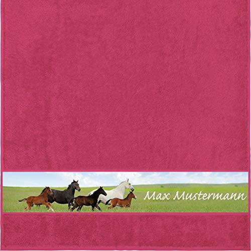 Manutextur Duschtuch mit Namen - personalisiert - Motiv Tiere - Pferde - viele Farben & Motive - Dusch-Handtuch - Fuchsia - Größe 70x140 cm - persönliches Geschenk mit Wunsch-Motiv und Wunsch-Name