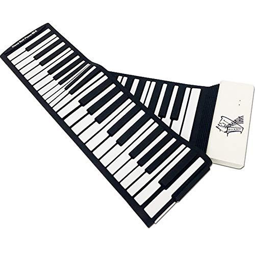 Handrollen klavier, 88-Tasten-Verdickung Professionelle Version Tragbare mobile Tastatur, Anfänger Erste Schritte Erwachsene,White