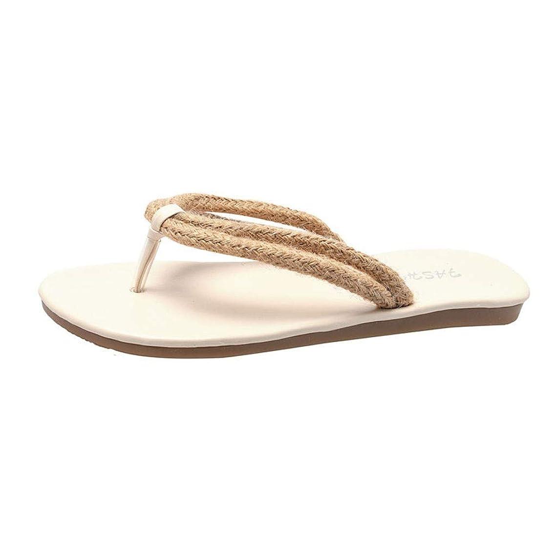 Aunimeifly Women Woven Rope Band Flip Flops Summer Beach Sandals Solid Color Flat Ladies Flatform Slides