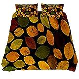 N\O - Juego de ropa de cama con composición de hojas verdaderas para otoño y 3 piezas (1 funda de edredón + 2 fundas de almohada), microfibra ultra suave (no incluye edredón).