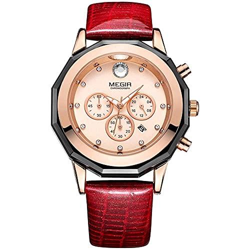 YQDSY reloj de mujer impermeable con incrustaciones de diamantes calendario perpetuo automático cronógrafo de niña reloj de cuarzo informal reloj minimalista