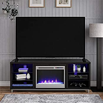 Ameriwood Home Lumina Fireplace Stand for TVs up to 70  Black Oak