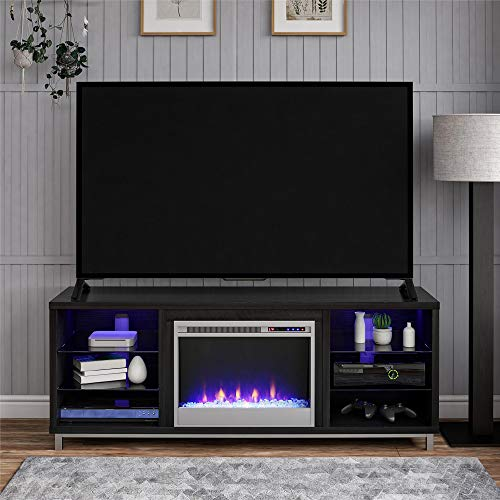 """Ameriwood Home Lumina Fireplace Stand for TVs, up to 70"""", Black Oak"""