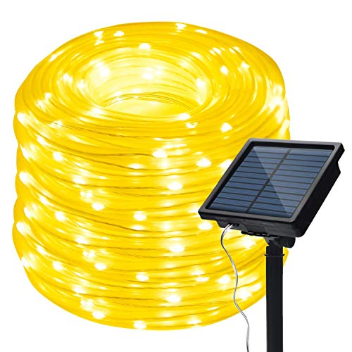 IMAGE Solar Rope Lights 13M 42.6FT String Light with 100 LEDs Auto ON/Off with 8 Lighting Modes for Indoor Outdoor Garden Tree Party, Warm White