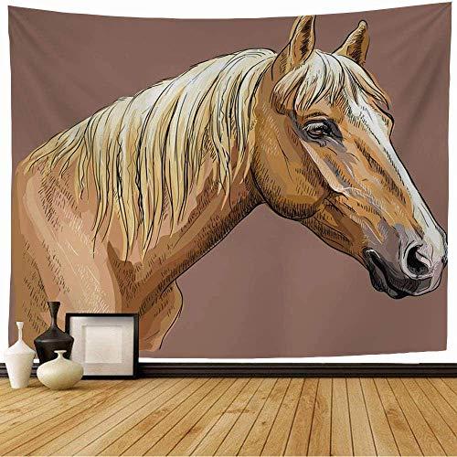 CDMT-XU1 Cut Ride Hand Ranch Grabado Dibujo Palomino Head Agricultura Riding Sketch Belleza Tapiz de Contorno de Caballo 80 x 60 Pulgadas
