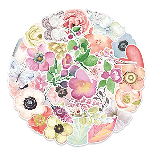 Aesthetic Flower Stickers for Water Bottles 50 Pack Cute,Waterproof,Trendy Decorative Decals Stickers for Teens,Girls Perfect for Waterbottle,Laptop,Phone,Travel Extra Durable Vinyl (Flower)