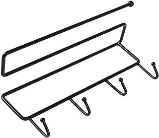 シームレスステッカー 多目的 ラック 収納 ハンガー フック ホルダー トレーレス 選べる - ブラック