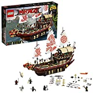 Build a huge ninja training base, featuring three modular levels, a double-headed dragon figurehead, decorated sails and wind-up and release anchors! Featured in THE LEGO NINJAGO MOVIE Includes seven mini figures: Wu, Kai, Lloyd, Zane, Nya, Jay and C...