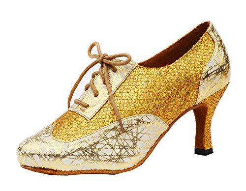 MGM-Joymod Mujer Clásico Encaje Impresión Brillo Sintético Tango Salón de Baile Latino Moderno Zapatos de Baile Noche Boda Zapatos de Tacón Bajo, color Dorado, talla 35.5 EU