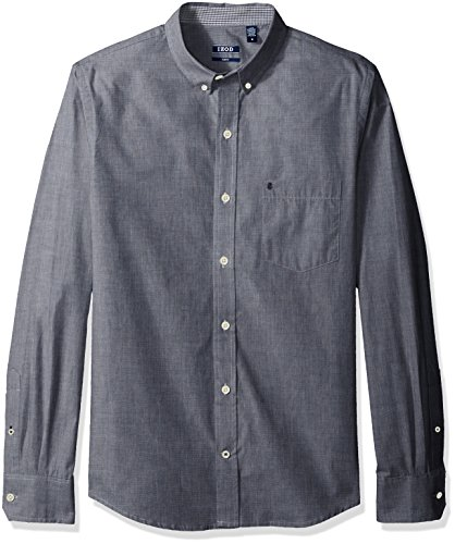 IZOD Men's Fit Button Down Long Sleeve Stretch Performance Solid Shirt, Midnight, 2X-Large Slim
