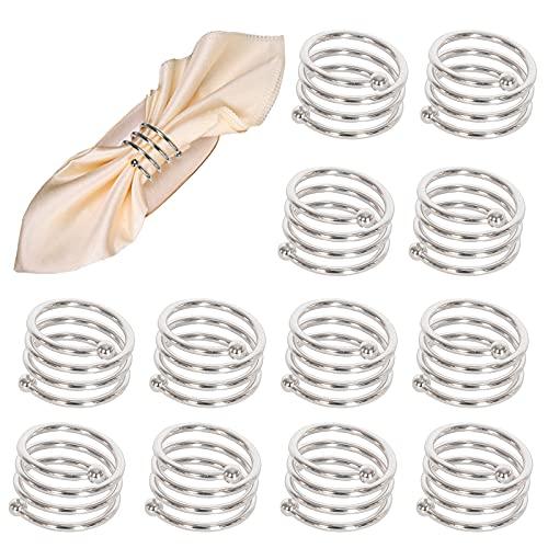 MCDSAJ 12 anillos redondos modernos de metal para servilletas, diseño en espiral, para el día de San Valentín, Pascua, reunión familiar, cena, fiesta, boda, día de Acción de Gracias