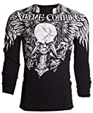 Affliction Xtreme Couture Mens Thermal T-Shirt Dagger Tattoo Biker (X-Large) Black