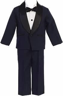 Boys Navy & Black Dinner Jacket w/Pants 4 PC Tuxedo