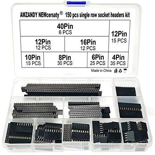 150 Stück 2.54mm 4/6/8/10/12/16/20/40 Pin Buchsenleisten-Sortiments Kit,Gerade Einreihige Platine Weibliche Stiftleiste Sockel Steckerleiste für Arduino Prototyp Schild (Einreihige)