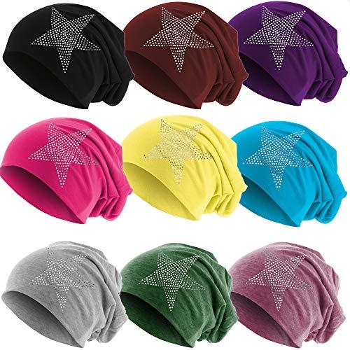 Hatstar Klassische Strass Stern Steine Jersey Slouch Long Beanie Mütze, leicht und weich für Damen und Mädchen (neon pink)