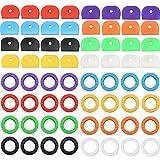 Aallo 64 piezas Tapa de Llave Flexible Llave Tapas Etiquetas Cubiertas para Fácil Identificación de Llaves de Puerta, 8 Colores, 2 Estilos