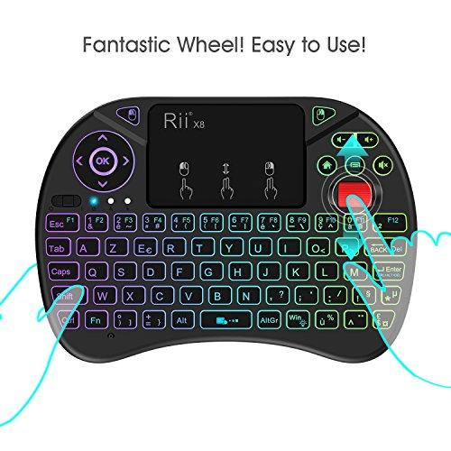 Rii Mini (Nouveauté) Clavier X8 Wireless Français Ergonomique sans Fil avec Touchpad pour Smart TV, Mini PC, HTPC, Console, Ordinateur