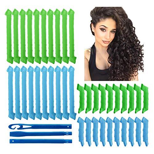 Magic Lockenwickler Spiral Curls Wave Styling Hair Rollers Kit No Heat Lockenwickler und Stylinghaken für alle Haarlängen