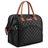LOKASS Lunch Bag Insulated Lunch Box Wide-Open Lunch Tote Bag Large Drinks Holder Durable Nylon Thermal Snacks Organizer for Women Men Adults College Work Picnic Hiking Beach Fishing,Black-Square