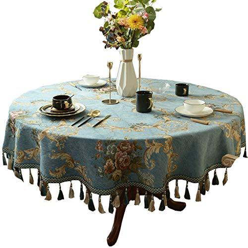 Rond tafelkleed met Tassel tafel dekken Bloemen Patroon Jacquard tafelkleed for keuken Eettafel Decoration (Color : Blue, Size : 160cm diameter circle)