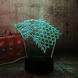 Tianyifengg 3D-LED-7 Farbe-Fernbedienung-Nachtlicht-Energie Spielhaus EIS und Feuer Lied Nachtlicht...