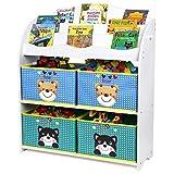 Homfa Kinder Aufbewahrungsregal Bücherregal Kinderregal Spielzeugaufbewahrungregal Spielzeugkiste Kinderkommode mit 4 Faltbarer schubladen