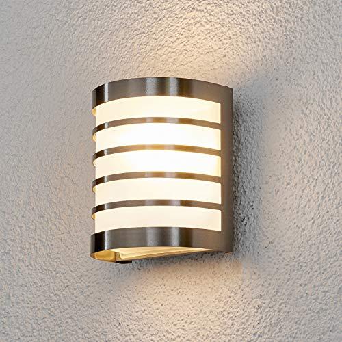 Lampenwelt Wandleuchte außen \'Calin\' (spritzwassergeschützt) (Modern) in Alu aus Edelstahl (1 flammig, E27, A++) - Außenwandleuchten, Wandlampe, Außenlampe, Wandlampe für Outdoor & Garten