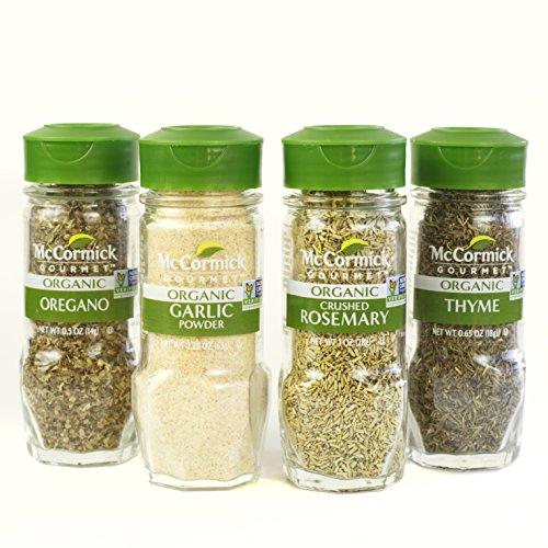 McCormick Gourmet Organic Garlic & Herbs Everyday Basics Variety Pack (Oregano, Garlic Powder, Crushed Rosemary, Thyme), 0.05 lb