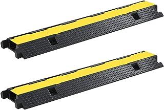 Festnight Pasacables de Suelo Rampa de Protección de Cable 2 Piezas 1 Canal Goma 100 x 25 x 5,9 cm